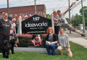The Ideaworks team shows off its red noses in support of Red Nose Day.